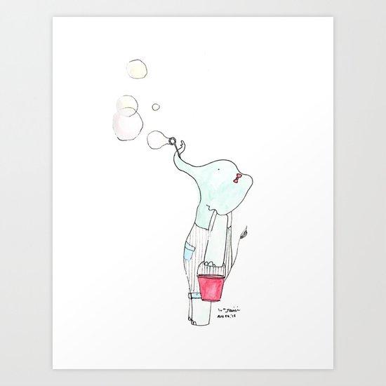 Edna the Elephant (blowing bubbles) Art Print