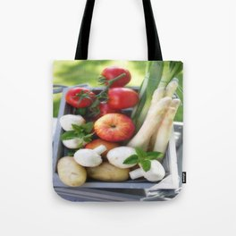 Wooden box with fresh fruit and vegetables Tote Bag
