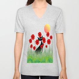 Whimsical Black Cat and Red Poppies Unisex V-Neck