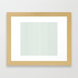 Mattress Ticking Narrow Horizontal Striped Pattern in Moss Green and White Framed Art Print