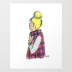 Top Knot. Buffalo Plaid Vest. Art Print