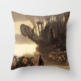 Steampunk Abstract Painting Throw Pillow