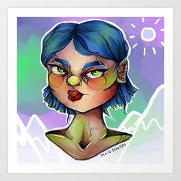 Blueberry Lady Art Print