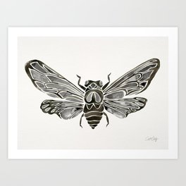 Summer Cicada – Black Palette Art Print