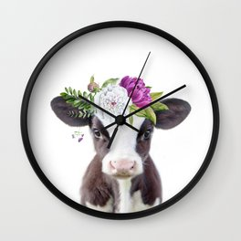 Baby Cow with Flower Crown Wall Clock
