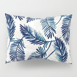 "Blue palm leaves pattern ""Pamela"" Pillow Sham"