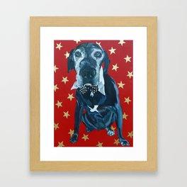 Starry Leonard the Black Lab Dog Portrait Framed Art Print