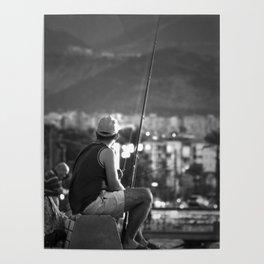 Fishing at seaside in Izmir (Turkey) - black and white Poster