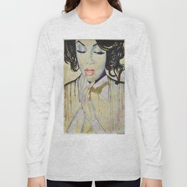 Colourful dripping ink portrait Long Sleeve T-shirt