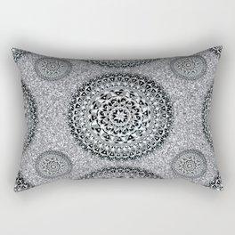 Silver Sparkle and Hand-Drawn Metallic Mandala Textile Rectangular Pillow