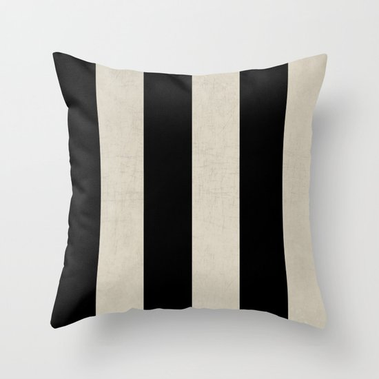 vintage black stripes Throw Pillow