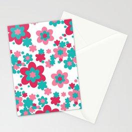Pink Raspberry Aqua Blue Floral  Stationery Cards
