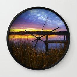 Sunset at Denbigh Pier II Wall Clock