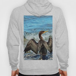 Cormorant Dries off in front of the Sea Hoody