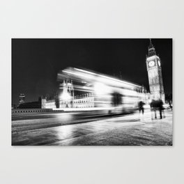 Bus passing Westminster B&W Canvas Print