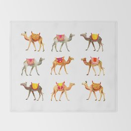 Cute watercolor camels Throw Blanket