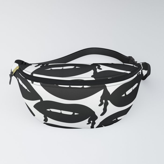 Bloody Lips in Black White Fanny Pack