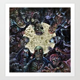 Zombies attack (zombie circle horde) Art Print
