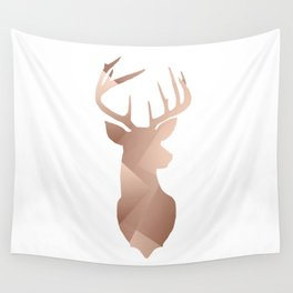 Scandi Tribal Geometric Brushed Copper Stag Wall Tapestry
