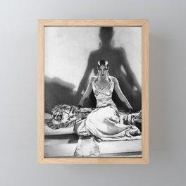 Fierce Josephine Baker Folies Bergère, Paris African American black & white photograph on Tiger Rug Framed Mini Art Print