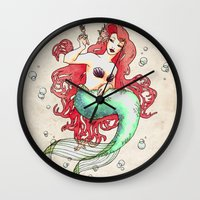 mucha Wall Clocks featuring Mucha-esque Mermaid by Beth Aucoin