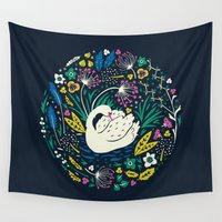 swan Wall Tapestries featuring Wild Swan by Anna Deegan