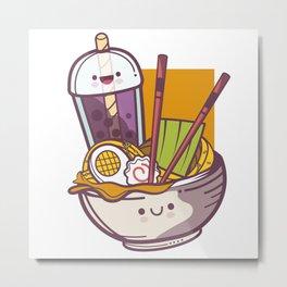 Boba Bubble Tea Miso Ramen Metal Print