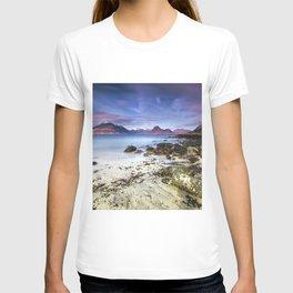 Beach Scene - Mountains, Water, Waves, Rocks - Isle of Skye, UK T-shirt
