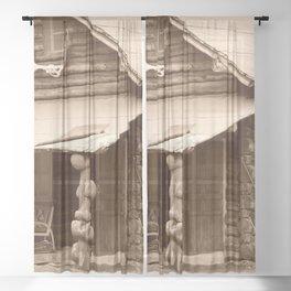 Old Log Cabin Sheer Curtain