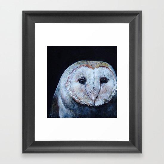 Dark Barn Owl Framed Art Print
