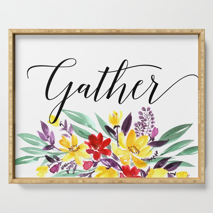 Gather floral Serving Tray