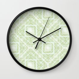 White, light green geometric pattern. Wall Clock