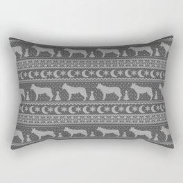 Ugly Christmas sweater | Czechoslovakian Wolfdog grey Rectangular Pillow