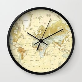 The World [Vintage] Relief Map Wall Clock