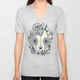 cat skull damask indigo Unisex V-Neck