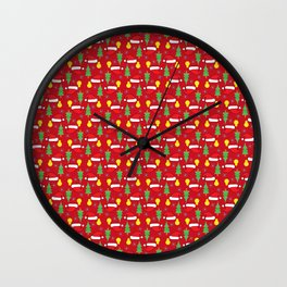 New year pattern in red Wall Clock