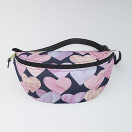 Pink Love Hearts on Navy Fanny Pack