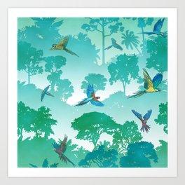 Macaw Canopy // Cyan Art Print