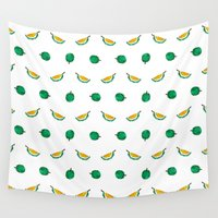 singapore Wall Tapestries featuring Durian - Singapore Tropical Fruits Series by littleoddforest