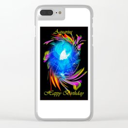 Zodiac sign Aquarius  Happy Birthday Clear iPhone Case