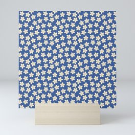 Simple Cream Floral Pattern on Blue Mini Art Print