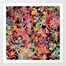 watercolor meadow black Art Print