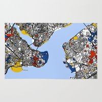 istanbul Area & Throw Rugs featuring Istanbul mondrian by Mondrian Maps