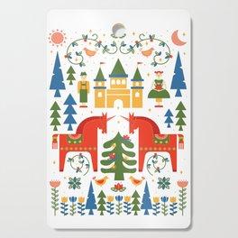 Scandinavian Folkstory - Red + Green Cutting Board