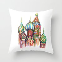 russia Throw Pillows featuring Russia by Lam Designs