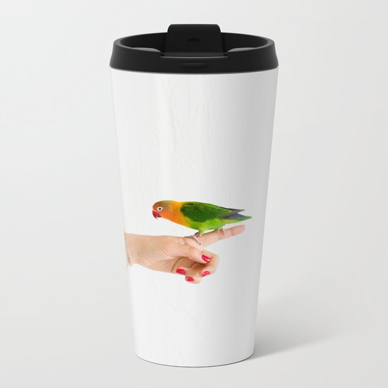 Woman and parrot Metal Travel Mug