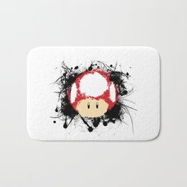 Abstract Paint Splatter Super Mushroom Bath Mat