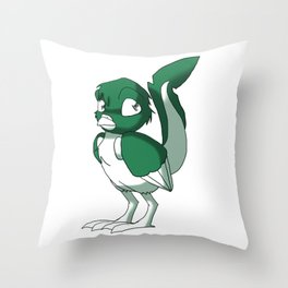 Pine Green/Color-Or-Paint-Your-Own Reptilian Bird #ArtofGaneneK #Animal Throw Pillow