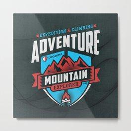 Adventure Mountain Graphic Art Metal Print