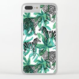 Leopard, zebra, green palm leaves Clear iPhone Case